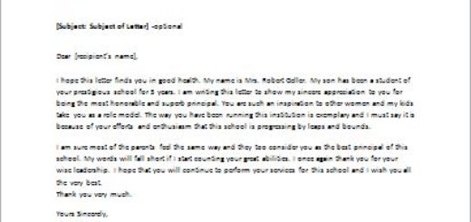 Thank You Letter to School Principal