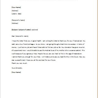 Thank You Letter to a Colleague or Friend for a Financial Donation