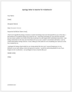 apology letter to teacher for misbehavior apology letter to for misconduct writeletter2 20484