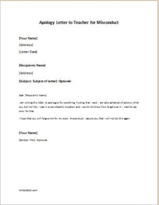 Apology Letter to Teacher for Misconduct writeletter2com