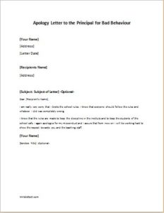 Apology Letter to the Principal for Bad Behaviour writeletter2com