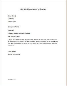 Get Well Soon Letter to Teacher