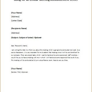 Going for an Official Meeting Announcement Letter