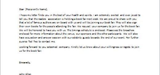 Invitation letter to a book fair