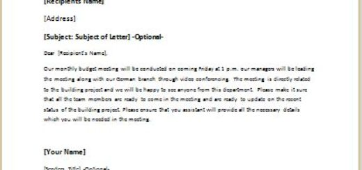 Letter Announcing a Monthly Budget Meeting