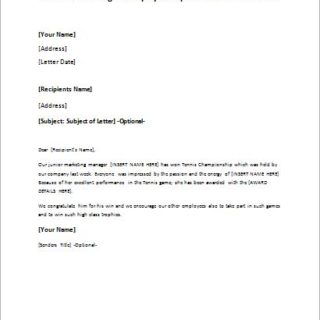 letter announcing an employees sports event achievement