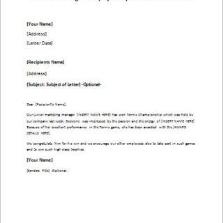 letter announcing an employees sports event achievement