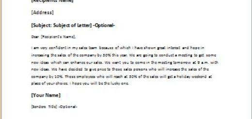 letter motivating employees to increase the sales