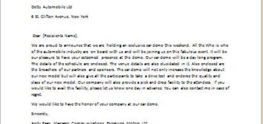Letter of Invitation for Car Demo