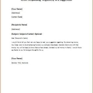 letter responding negatively to a suggestion