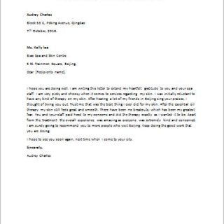 Letter to Compliment a Good Service