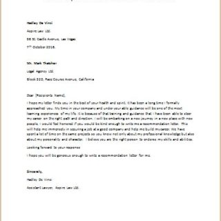 Letter to Request Someone to Write a Recommendation Letter