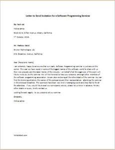 Invitation Letter for Software Programming Seminar
