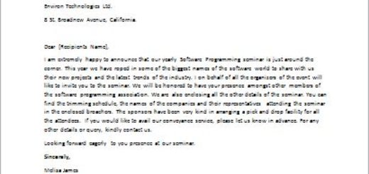 Invitation Letter for Software Programming Seminar