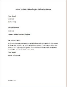Letter to Call a Meeting for Office Problem