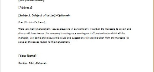 Letter to Call a Meeting to Discuss Management Issues