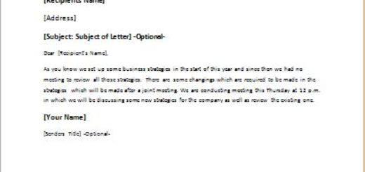 Letter to call monthly meeting to review strategies