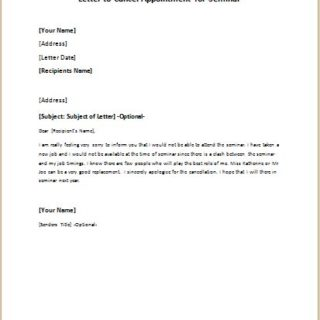 Letter to Cancel Appointment for Seminar