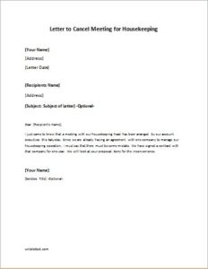Letter to Cancel Meeting for Housekeeping
