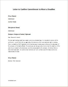 letter to confirm commitment to meet a deadline