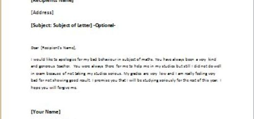 Sorry Letter to Teacher for not being Serious in Studies