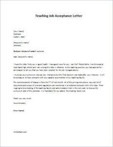 Teaching Job Acceptance Letter