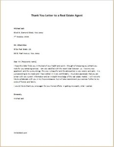 Thank you letter to a real estate agent