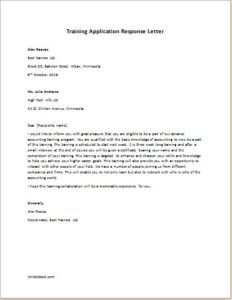 Training Application Response Letter