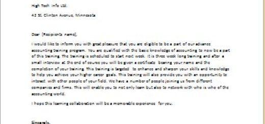 Training Application Response Letter