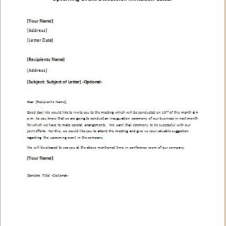 Upcoming event discussion invitation letter