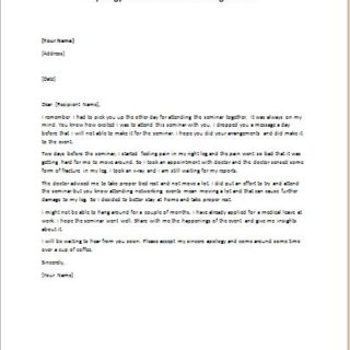 Apology letter for not attending a seminar