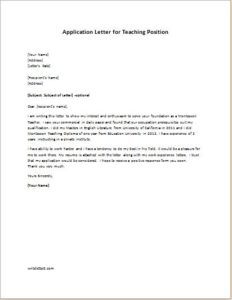 Application Letter for Teaching Position