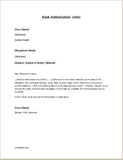 Bank Authorization Letter Sample Template Writeletter2 Com