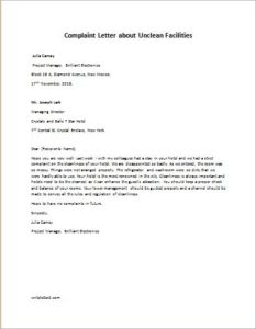 Complaint Letter about Unclean facilities