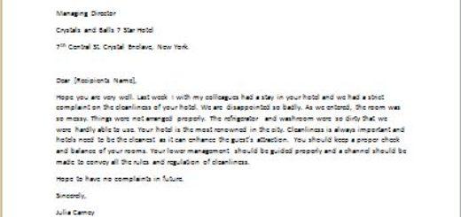Complaint Letter about Unclean facilities