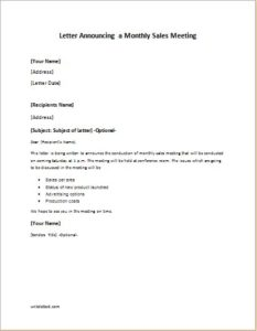 Letter Announcing a Monthly Sales Meeting