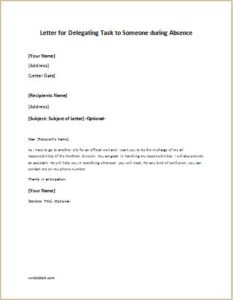 letter for delegating task to someone during absence