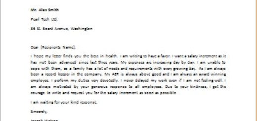 Letter to Request for Salary Increment