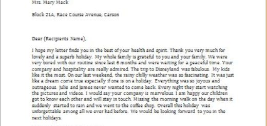 Letter to Thank You for a Holiday