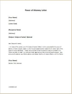 Power of attorney letter sample template for Full power of attorney template