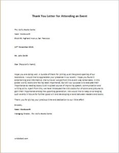 Thank You Letter for attending an Event
