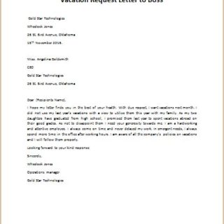 Vacation Request Letter to Boss