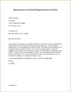 Warning Letter for School Discipline Violation
