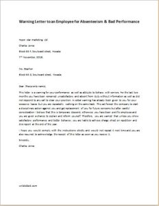 Warning Letter to an Employee for Absenteeism and bad performance
