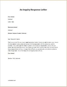 An Inquiry Response Letter SAMPLE TEMPLATE writeletter2com