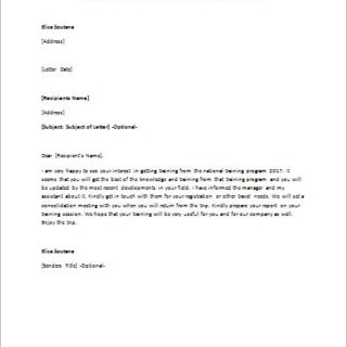 Approval letter to attend a training session