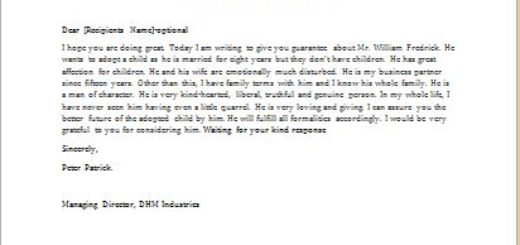 Character Reference Letter for a person seeking to adopt a child
