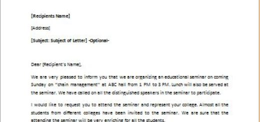 Invitation Letter to a Career Improvement Seminar