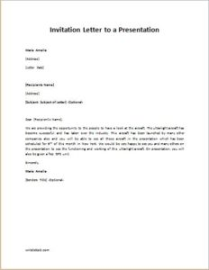 Invitation Letter to a Presentation