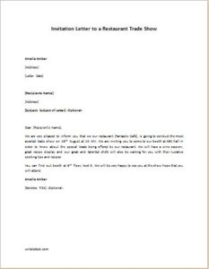 Invitation Letter to a Restaurant Trade Show